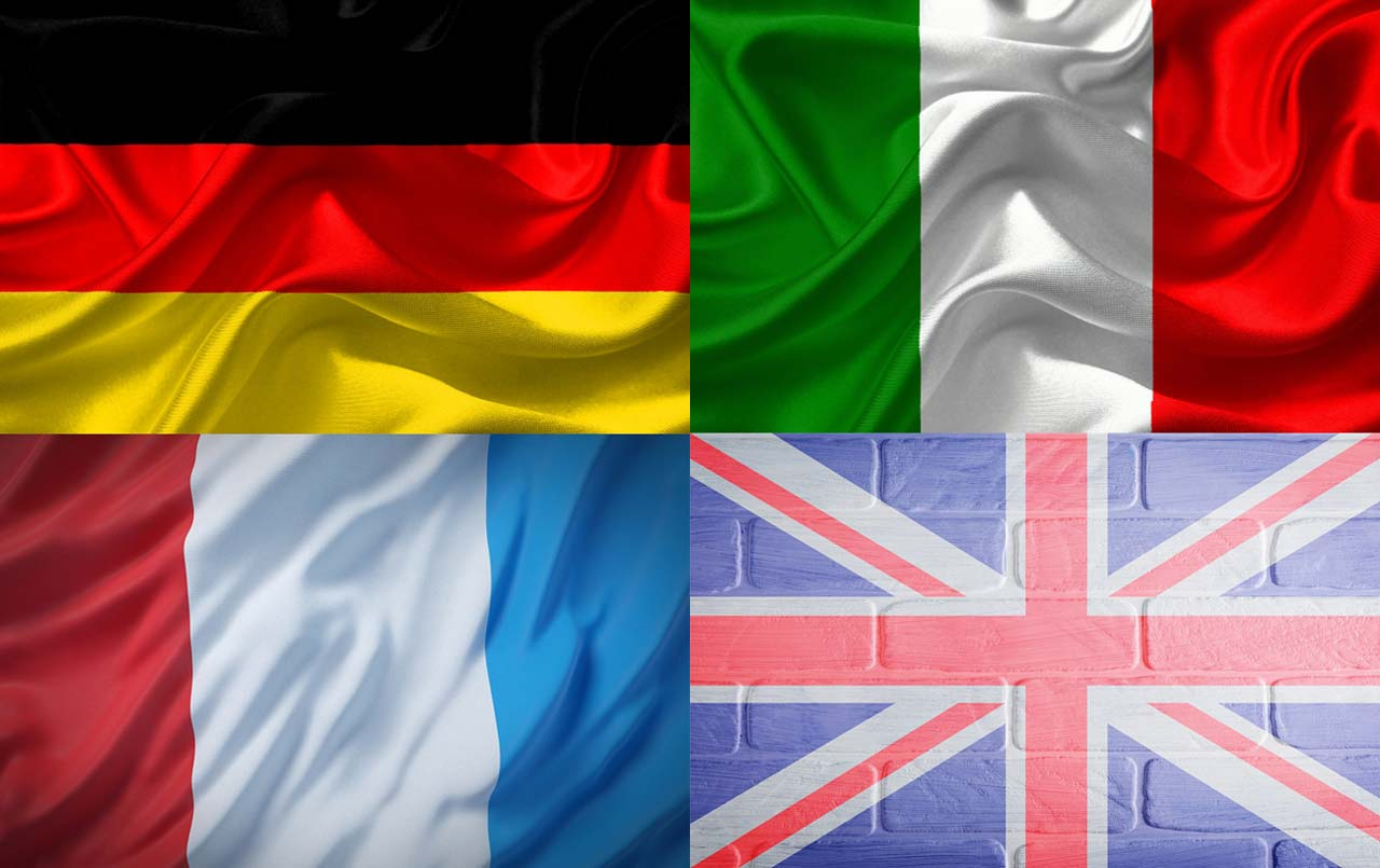 The flags of the United Kingdom, Italy, Germany and France