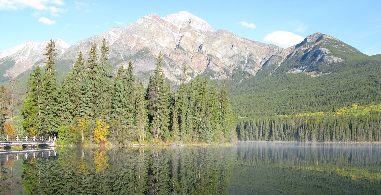 Canadian landscape with mountains and a lake