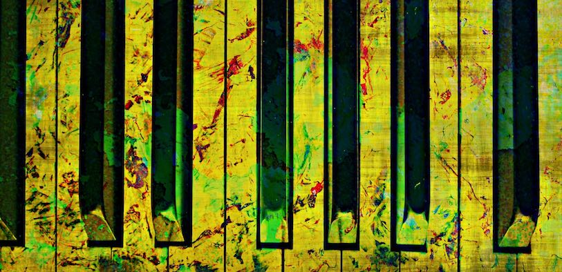 Psychedelic piano keyboard