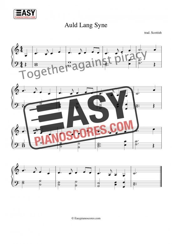 Easy piano arrangement of Auld Lang Syne for the piano