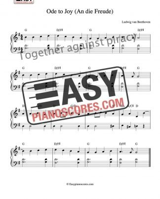 Easy piano score of Ode to Joy (An die Freude) by Beethoven