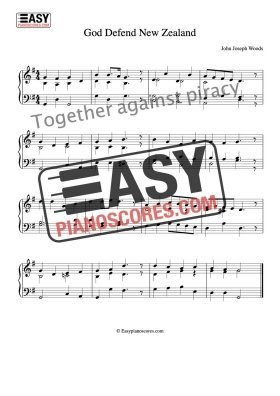 Easy piano arrangement God Defend New Zealand - the national anthem of NZ