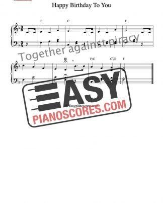 Happy Birthday to You easy piano sheet music