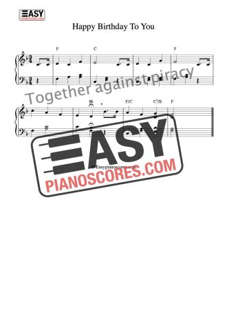 Happy Birthday to You easy piano sheet music