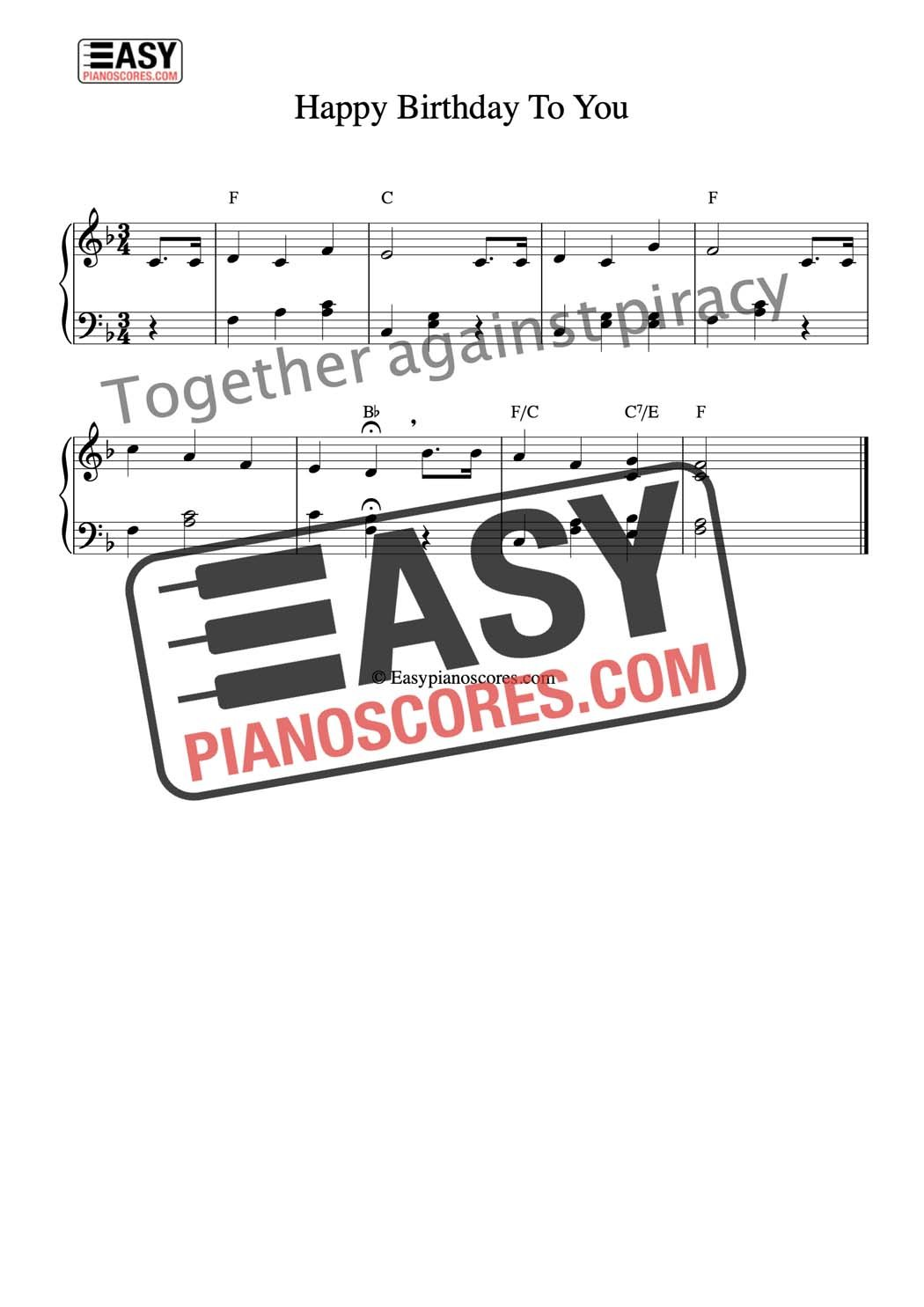 graphic about Free Printable Lap Harp Sheet Music known as Tunes notes for piano content birthday