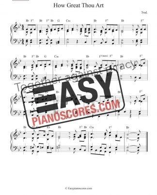 "Piano sheet music to ""How Great Thou Art"" - easy arrangement"