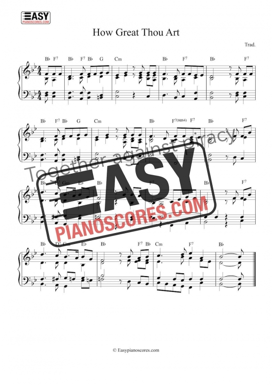 "Piano sheet music to ""How Great Thou Art"" - easy arrangement"