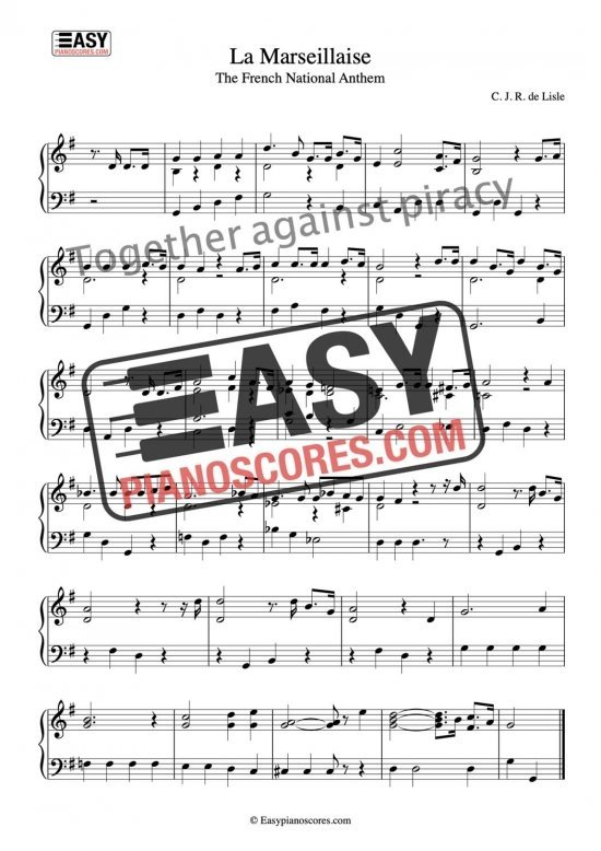La Marseillaise – French National Anthem Easy Piano Sheet Music Partition