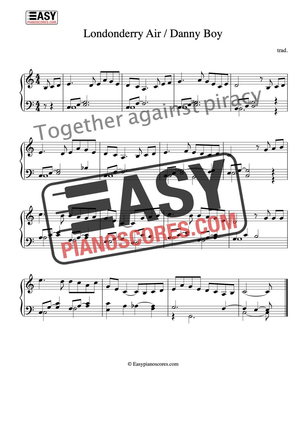 Piano score of Londonderry Air (Danny Boy)