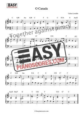 O Canada - Canadian national anthem easy piano sheet music