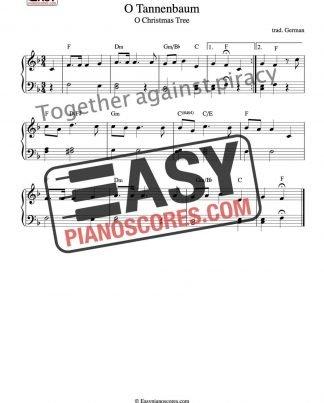 PDF piano sheet music for the Christmas carol O Tannenbaum