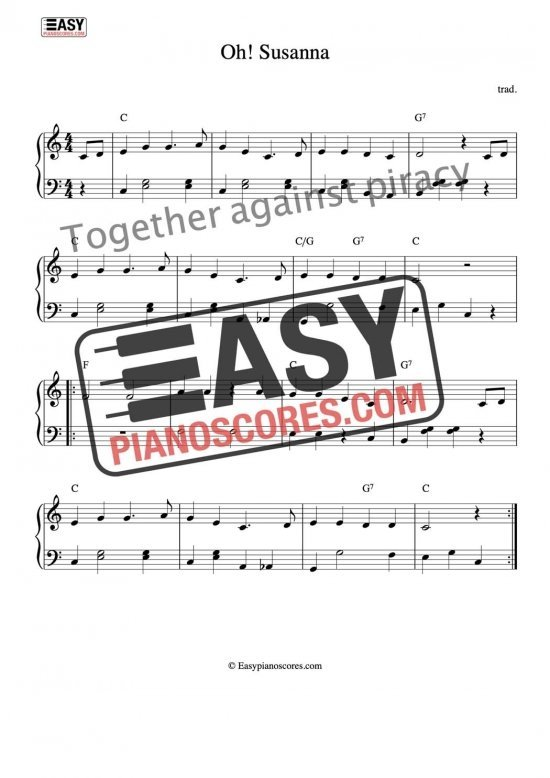 Oh! Susanna - easy piano score