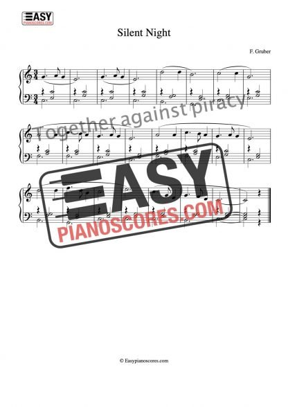 Preview of the sheet music score to Silent Night (Stille Nacht) for piano