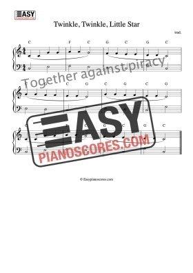 PDF sheet music for Twinkle, Twinkle, Little Star (easy piano version)