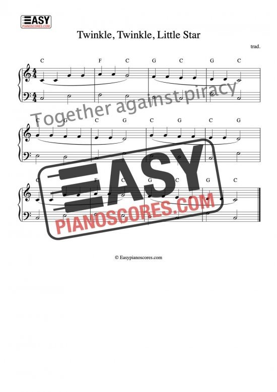 PDF sheet music for Twinkle, Twinkle, Little Star (easy piano version)
