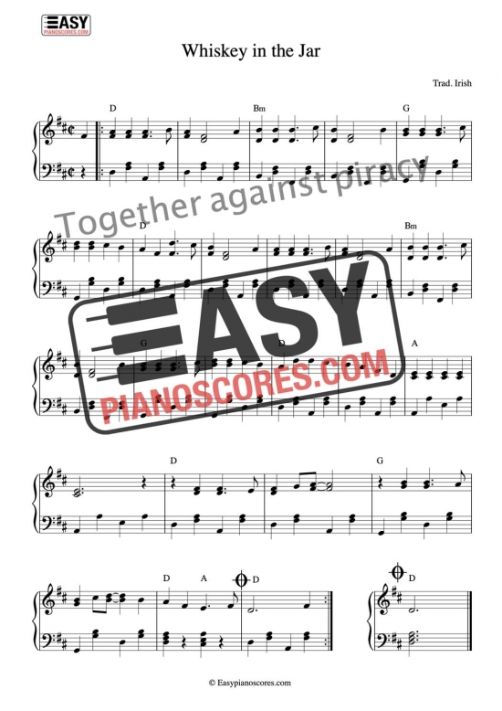 Irish folk tune Whiskey in the Jar - easy piano sheet music