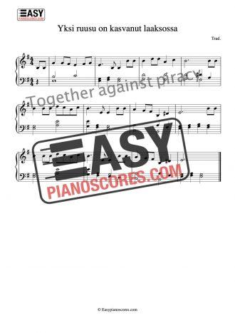 Piano score of Yksi ruusu on kasvanut laaksossa - a Finnish folk song